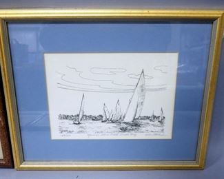 Four Images Of Boats In Harbor, Various Sizes, All Framed, Matted, Under Glass, 1 Is Signed And Numbered By Alice Kettalbach, 249/250