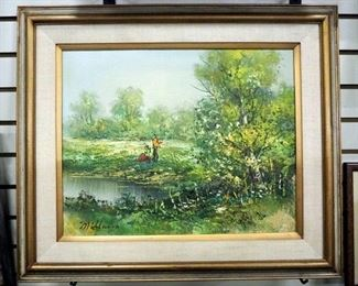 "Original Oil Painting Of a Couple By A Pond By Milano, Framed And Matted, 27"" Wide x 23"" High"
