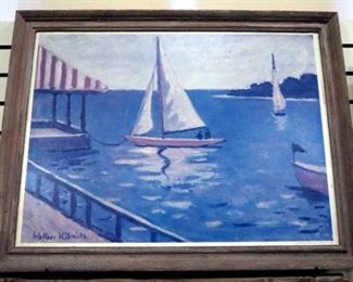 "Print On Board Of Sailboats In Harbor By Wallace H. Smith, Framed, 32.5"" Wide x 25"" High"