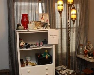 White Cabinet with miscellaneous items Fabulous been century modern retention pole lamp with pendant Morracon lights