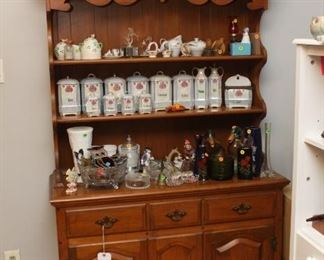 Early American Hutch, various vintage items, such as porcelain cannisters from Czechoslovakia