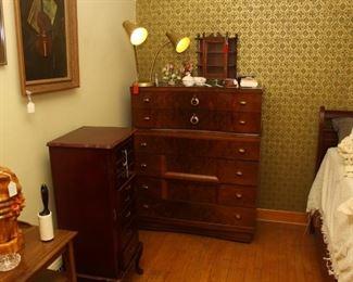 Walnut tall boy dresser