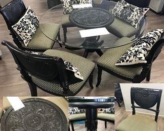 Black & Glass 6 PC Dining Set