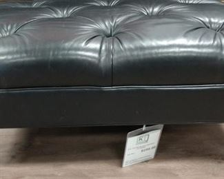 Ethan Allen Blk Tufted Leather Ottoman