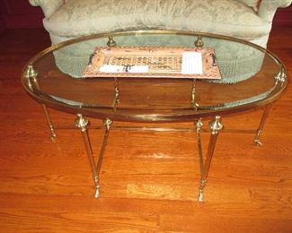 Classic Galleries Ferguson Copeland Down Sofa  ~ LaBarge Signed Italian Brass & Glass Accent Table