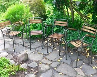 1800s antique French stacking slat cafe chairs (Set of 4)