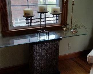 glass pedestal table  $60