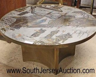 "RARE ""Philip and Kelvin LaVerne"" Mid Century Coffee Table in the patinated poly chrome bronze and pewter.  Highly sought after ""Chan Collection"" ingeniously design with acid etching, chinoiserie scene depicts Asian figures and horses in very good condition with original label from the Gallery of Works of Art, New York, NY (approximately 36 inches diameter x 17 1/2 inches height)  auction estimate $1,000 to $5,000"