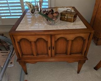 square stone top end table