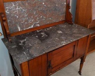 Antique English beechwood washstand, c. 1890