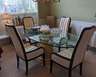 glass top pedestal dining table with 4 chairs