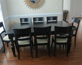 POTTERY BARN DINING TABLE AND 8 CHAIRS.
