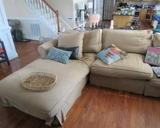 THIS SECTIONAL SOFA FROM RESTORATION HARDWARE IS DAMAGED ON THE LEFT UNDER THE PILLOWS.  THE OTHER PART IS IN GOOD SHAPE AND FOR SALE SEPARATELY.