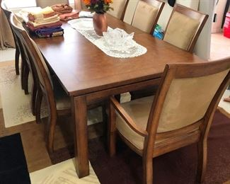 High End dining set by Huntington Furniture, Solid  wood with burlwood top, 8 chairs, china cabinet, Mission Style