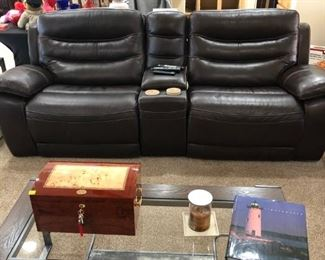 Genuine Leather double reclining sofa with matching chair