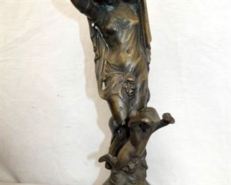 15IN BRONZE LADY STATUE W/ CHERUB