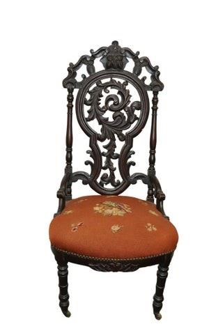 Victorian Openwork Carved Side Chair.