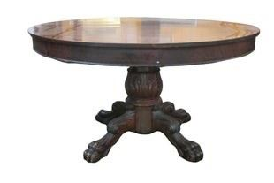 Empire mahogany claw foot dining table
