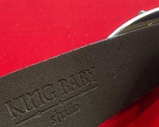 King Baby Studio Double Cross Brass Belt Buckle with Black Leather Belt Men's 34