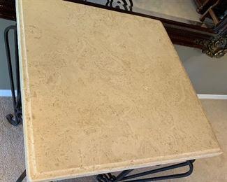 Heavy Iron Scroll Stone top table Hi-Boy40x30x30inHxWxD