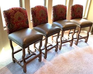 4 Rustic Leather & Fabric Nailhead Bar Stool Counter Height Chairs46x20x21in.  Seatheight: 29inHxWxD