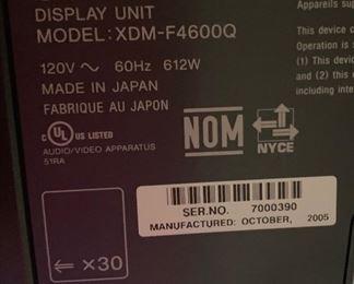 Sony XDM-F4600Q HD Monitor w/ ReceiverNO WALL MOUNT