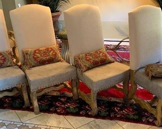 Tuscan glass top Stone Base Dining table w/ 8 chairsTable: 28.5 x 48 x 84in Chair: 49x24x23 seat 20inHxWxD