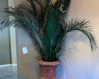 #2 Huge Faux Palm w/ Stone Vase Planter31in H x 23in Diameter