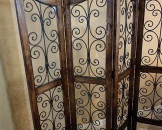 Scroll Iron & Wood Screen72x 71in Long