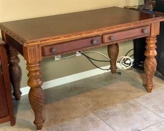 Carved Wood Writing Desk30x52x30.5HxWxD