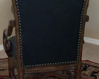 Carved Wood & Leather Accent Chair46x26x27inHxWxD