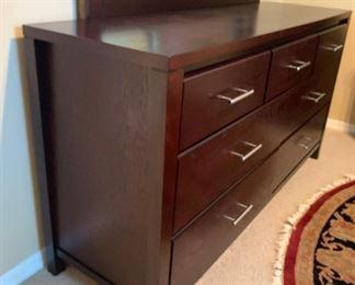 Contemporary Dark Wood Dresser w/ Mirror33x63x20inHxWxD