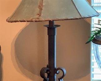 Heavy Iron Table Lamp w/ Rawhide Chade