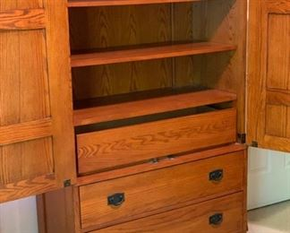 Oak Mission Cabinet Wardrobe Dresser66x42x19inHxWxD