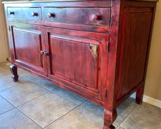 Farmhouse Rustic Red China Cabinet79x61x25inHxWxD