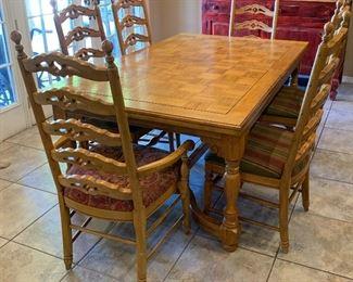 Oak Parquet Table w/ 6 Chairs30x45x72inHxWxD
