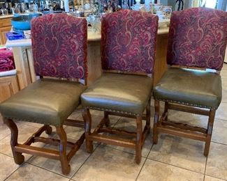 3 Rustic Leather & Fabric Nailhead Chairs44x20x22in seat:24inHxWxD