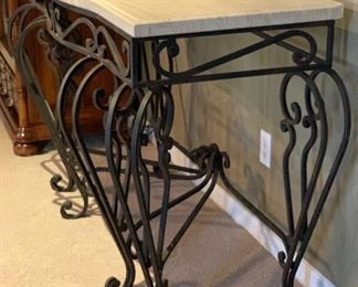 Heavy Iron Scroll Stone top Console Table35x54x27HxWxD