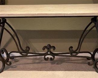 Heavy Iron Scroll Stone Top Sofa Table30x56x19inHxWxD