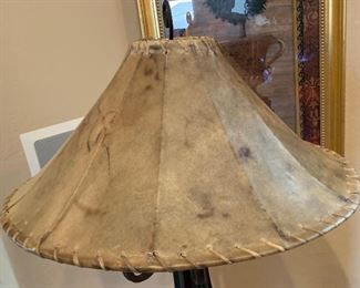 Wrought Iron Scroll Floor lamp w/ Rawhide Shade64in H