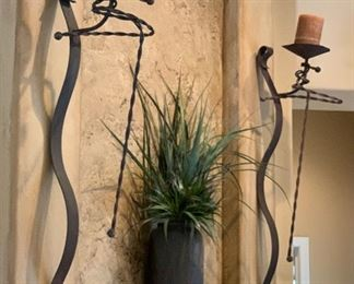 2 Rustic Metal Wall Mount Candle Holders PAIR