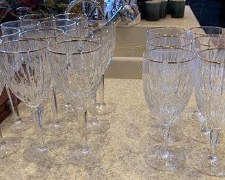 6pc Water Lenox Gold Rim Crystal Glasses Clarity 11pc Wine Lenox Gold Rim Crystal Glasses Clarity