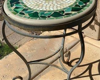 Leaf Tile Mosaic Patio Side Table23in H x 18.5in Diameter