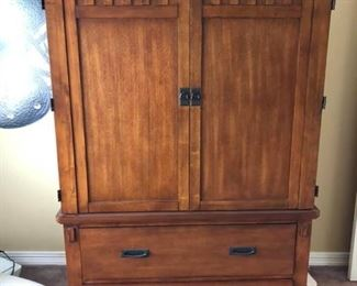 """Oak Armoire / TV Cabinet Measures 73 1/2"""" tall x 45"""" wide x 23"""" deep. Excellent condition."""