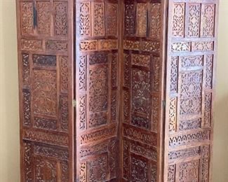 Carved Rosewood privacy screen