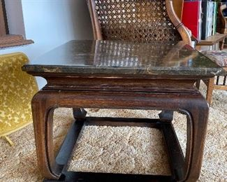 Pair of mid century marble top end tables