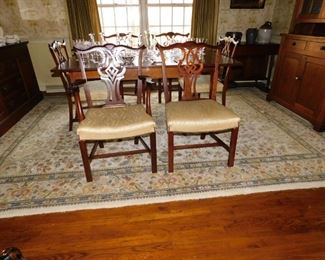 Set of Six Mid 20c Colonial Revival Chippendale Style Chairs, 5 side chairs & one armchair