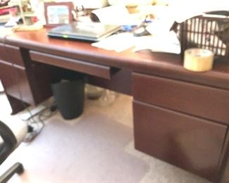 The Walnut desk available, credenza was in a closet at the time and unable to photograph.  Will try to get photo before sale.