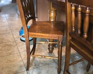 Four tall chairs to go with counter tall table.