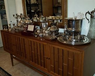 Mid-Century Buffet with matching Mirror Silver Serving Items